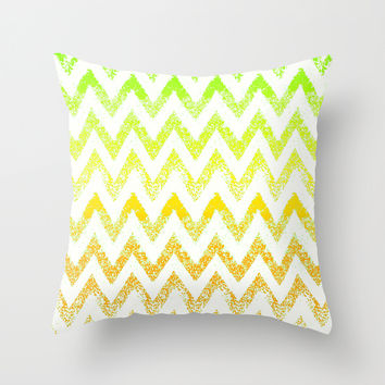 ombre golden green chevron Throw Pillow by Marianna Tankelevich