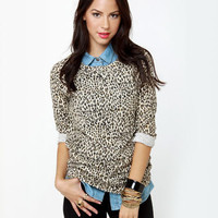 Obey Echo Mountain Sweatshirt - Leopard Print Sweater - $48.00