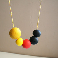 Color block necklace Yellow red black necklace -round beads Autumn colors