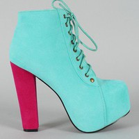 Leah-01 Two Tone Lace Up Platform Bootie