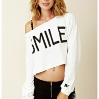 Rebel Yell - Smile Cropped Boyfriend Sweatshirt