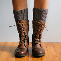 Knitted Boot Cuffs, Cabled, Boot Toppers, in Taupe Brown Wool