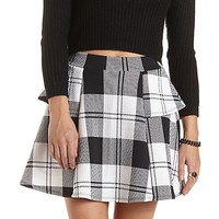 Plaid Peplum Skater Skirt by Charlotte Russe - Black/White