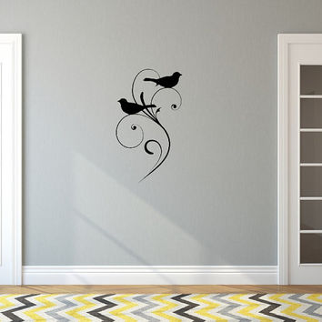 Birds with Swirls Vinyl Wall Decal 22485