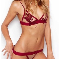For Love & Lemons Skivvies Le Fleur Thong in Blood Red