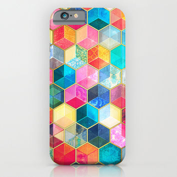 Crystal Bohemian Honeycomb Cubes - colorful hexagon pattern iPhone & iPod Case by micklyn