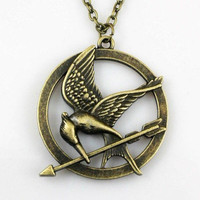 SALE--The Hunger Games pendant ,Inspired Mockingjay Necklace-Bronze--double sides