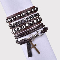 Punk Rock Style Coffee Leather Bracelet Couple Bracelet Women Leather Bracelet Men Leather Bracelet 1251A