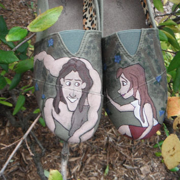 Hand painted shoes - Tarzan and Jane