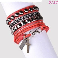 Punk Rock Style Red Leather Bracelet Couple Bracelet Women Leather Bracelet Men Leather Bracelet 1253A