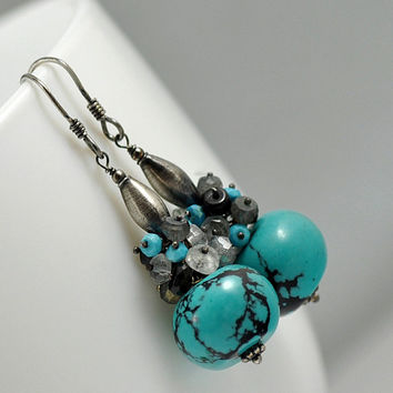 sterling silver turquoise aquamarine & black spinel cluster earrings
