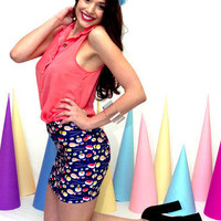 High waisted skirt, Sushi Print Skirt - S/M