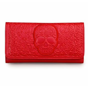 """Red on Red Skull Lattice"" Wallet by Loungefly (Red)"