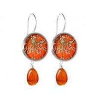 blood orange flower earrings