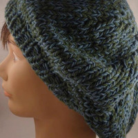 Slouchy Hat, Green Blue Combination, Hand Knit