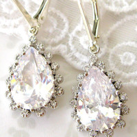 Teardrop CZ and Sterling Dangle earrings -  Sparkling white cubic zircon earrings- HAPPY TEARS  Hollywood Glam handcrafted wedding jewelry