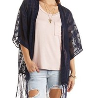 Embroidered Fringe Kimono Top by Charlotte Russe - Blue Depths
