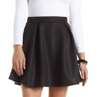 Ribbed Pleated Skater Skirt by Charlotte Russe - Black