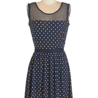 ModCloth Short Length Sleeveless A-line The Upbeat Goes On Dress