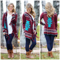 Moments With You Cardi - BURGUNDY /