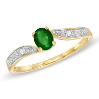 Oval Emerald and Diamond Ring in 10K Gold