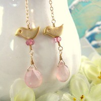 Gold love birds pink chalcedony earrings