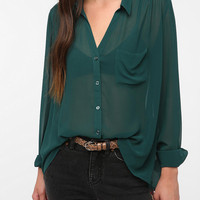 Silence & Noise Sheer Chiffon Button-Down Blouse