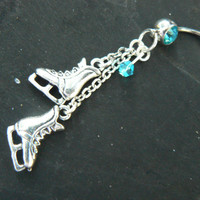 ice skates belly ring TURQUOISE crystal winter hockey frozen ice skating Christmas  fantasy belly dancer  and hipster style