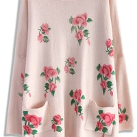 The Pink Rose Oversize Sweater Dress Pink S/M