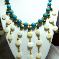 Bib style necklace and earring set, blue turquoise