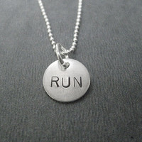 RUN - JUST RUN 16 inch Sterling Silver Running Necklace - Hand Stamped Disc on 16 inch Sterling Silver Ball chain - Running Jewelry - Run