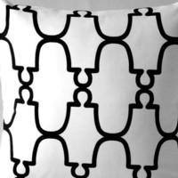 White BlackTrellis Pillow Cover,  Morrocan Quatrefoil Tile pattern  20 x 20