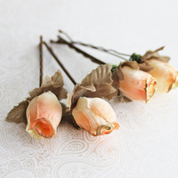 Peach and Gold Flower Hair Pins. Flower Hair Pin. Whimsical. Weddings. Bridesmaids. Rustic Wedding. Hair Accessories. Fall. Autumn Wedding.