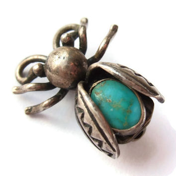 Vintage tiny insect brooch, sterling silver and turquoise, bee or fly or beetle, bug jewellery, Southwestern? Native American? Navajo? #156.