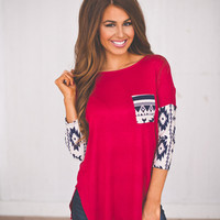 Tribal Sleeve Tunic- Red