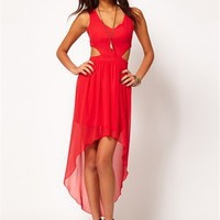 Sexy Red High-low Low-neckline Chiffon Prom Dress PD1968