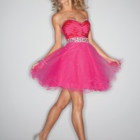 pictures of Strapless sweetheart purple red tulle short Prom party cocktail Dresses 2012 PSDM0016