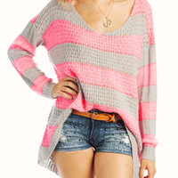 striped-high-low-sweater NYLLWCREAM PINKGREY - GoJane.com