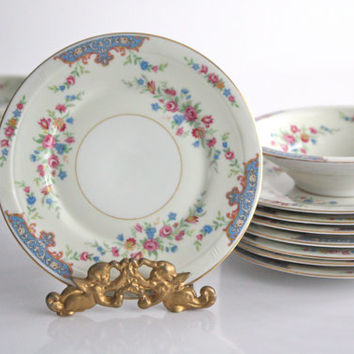 Dessert Plates / Royal Crown Bohemia /  Pink and Blue Floral