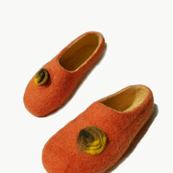 Felted slippers   home shoes, home shoes, women shoes, Handmade felted orange slippers,Felted shoes, Felted footwear