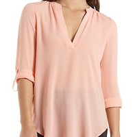 Three-Quarter Sleeve Chiffon Tunic Top - Pale Peach