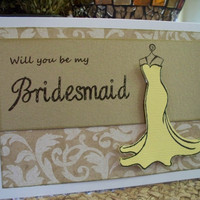 Damask WILL YOU BE my Bridesmaid 7 Wedding Card by MDCardsandGifts
