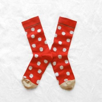Red Spotty Bonne Maison Cotton Socks