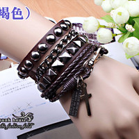 Punk Rock Brown Leather Bracelet Couple Bracelet Women Bracelet Men Leather Bracelet Bracelet Cool Bracelet Mens Bracelet 1061S