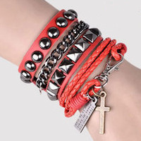 Punk Rock Red Leather Bracelet Couple Bracelet Women Bracelet Men Leather Bracelet Bracelet Cool Bracelet Mens Bracelet 1060S