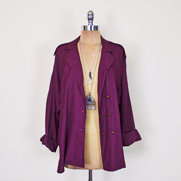 Vintage 80s 90s Burgundy Shirt Blouse Top Slouchy Oversize Shirt Jacket Batwing Sleeve Shirt Dolman Sleeve Double Breated Grunge Shirt S M L