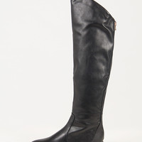 Gold Zipper Back Over-the-Knee Boots - Black /
