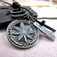 soft leather necklace metal pendant men leather long necklace, women leather necklace  PL0329