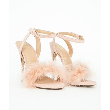 Missguided - Carrie Feather Strappy Heeled Sandals Nude