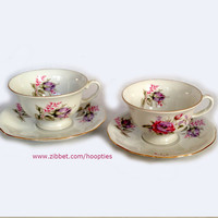 2 Vintage Teacup and Saucer Sets Lavender Roses from Poland